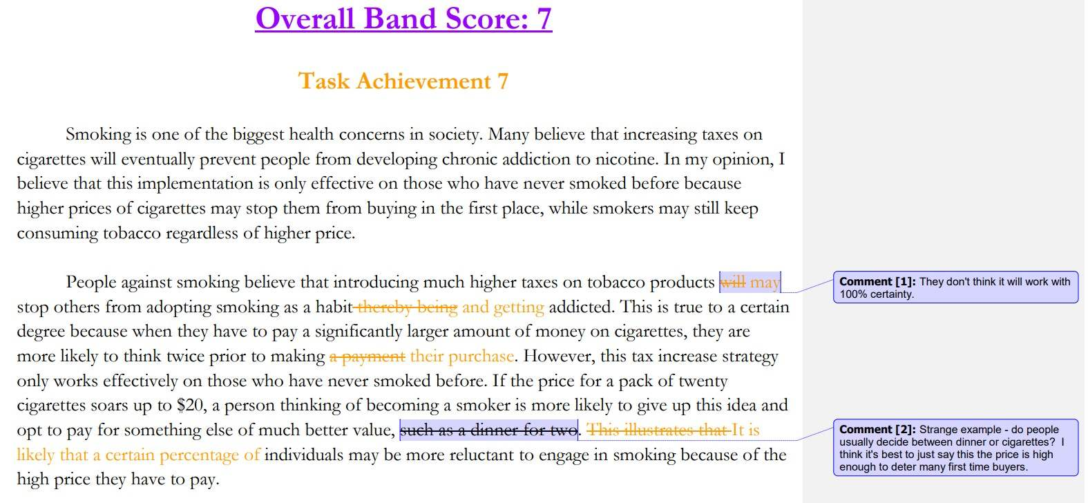IELTS Writing Task 2 Smoking Corrections